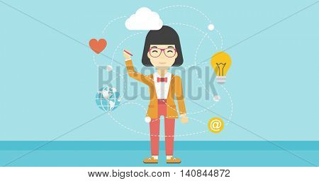 An asian woman writing on a virtual screen. Business woman drawing a cloud computing diagram on a virtual screen. Cloud computing concept. Vector flat design illustration. Horizontal layout.