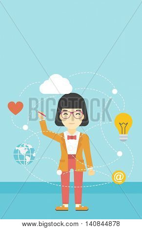 An asian woman writing on a virtual screen. Business woman drawing a cloud computing diagram on a virtual screen. Cloud computing concept. Vector flat design illustration. Vertical layout.