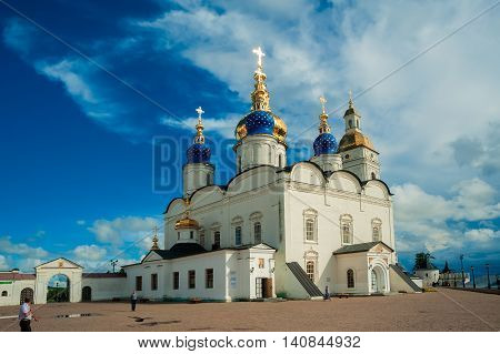 Tobolsk, Russia - July 15, 2016: Kremlin complex. St Sophia-Assumption Cathedral and belltower 1587 foundation year