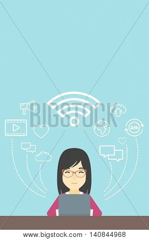 An asian woman working on a laptop and social computer network icons above him. Vector flat design illustration. Vertical layout.