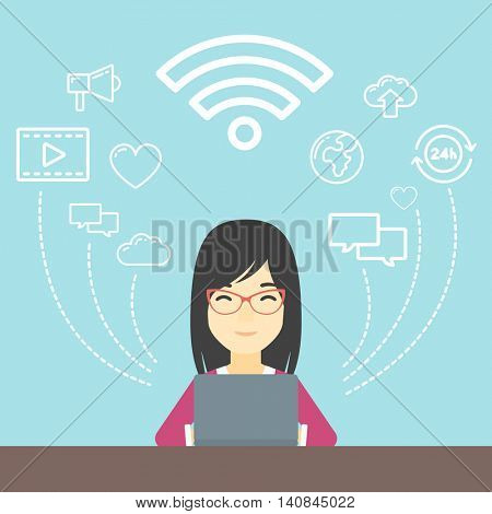 An asian woman  working on a laptop and social computer network icons above him. Vector flat design illustration. Square layout.