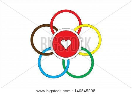 Symbol of friendship of six colored hoops