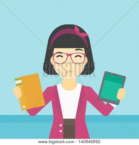 An asian woman choosing between tablet computer and paper book. Woman holding book in one hand and tablet computer in the other. Vector flat design illustration. Square layout.