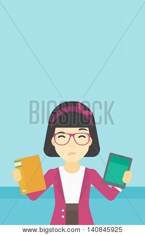 An asian woman choosing between tablet computer and paper book. Woman holding book in one hand and tablet computer in the other. Vector flat design illustration. Vertical layout.