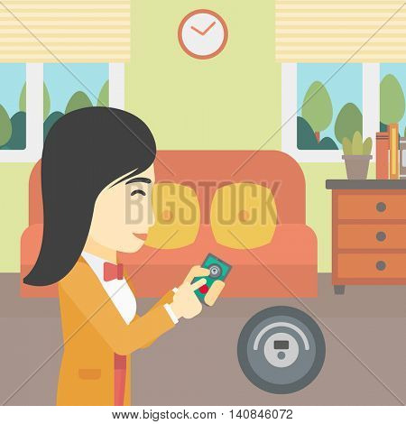An asian woman controlling robot vacuum cleaner with smartphone. Woman holding remote control of robotic vacuum cleaner in living room. Vector flat design illustration. Square layout.