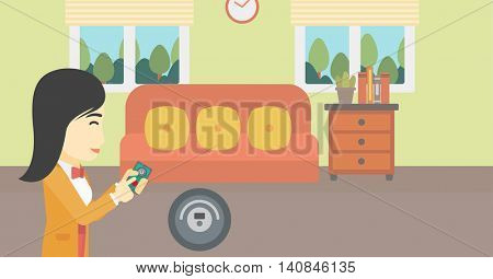 An asian woman controlling robot vacuum cleaner with smartphone. Woman holding remote control of robotic vacuum cleaner in living room. Vector flat design illustration. Horizontal layout.