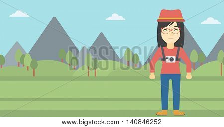 An asian woman with a digital camera on her chest. Tourist with a digital camera standing on the background of mountains. Vector flat design illustration. Horizontal layout.