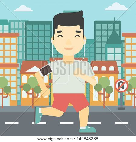 An asian man running with earphones and armband for smartphone. Man listening to music during running. Man running on a city background. Vector flat design illustration. Square layout.