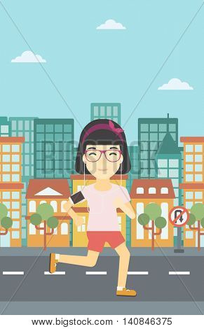 An asian woman running with earphones and armband for smartphone. Woman listening to music during running. Woman running in the city. Vector flat design illustration. Vertical layout.