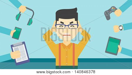 An asian man in despair and many hands with gadgets around him. Young man surrounded with gadgets. Man using many electronic gadgets. Vector flat design illustration. Horizontal layout.