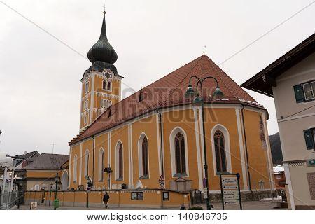 Parish Church in Schladming - Steiermark Austria copy-space