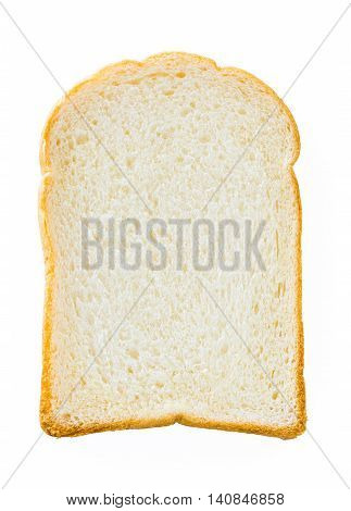 One piece of bread isolated white background.