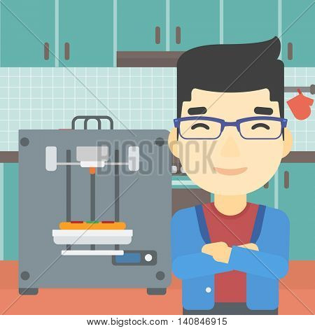 An asian young man working with three D printer making pizza on background of kitchen. Man with crossed arms standing near 3D printer. Vector flat design illustration. Square layout.
