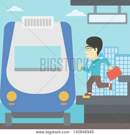 An asian latecomer man with briefcase running along the platform to reach the train. Young man came too late at train station. Vector flat design illustration. Square layout.