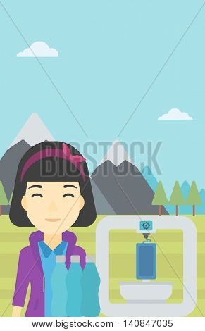 An asian young woman standing near three D printer on the background of mountains. 3D printer making a smartphone using recycled plastic bottles. Vector flat design illustration. Vertical layout.