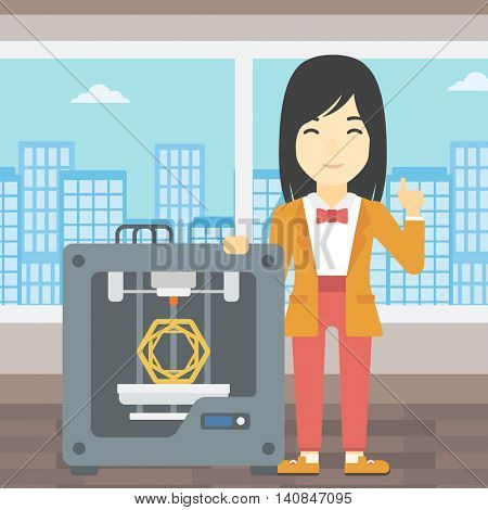 An asian young woman standing near tree D printer and pointing forefinger up. Engineer using 3D printer. Woman working with 3D printer. Vector flat design illustration. Square layout.