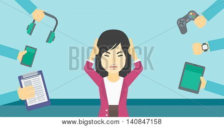 An asian woman in despair and many hands with gadgets around her. Woman surrounded with gadgets. Woman using many electronic gadgets. Vector flat design illustration. Horizontal layout.