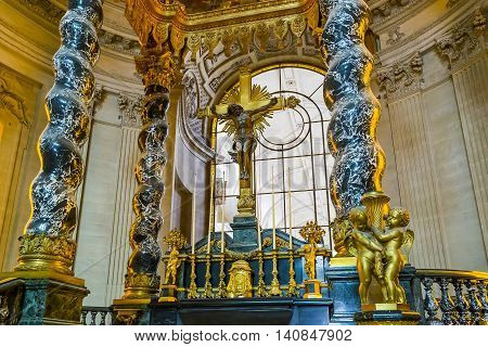 PARIS, FRANCE - MAY 12, 2015: This is the altar of cathedral St. Louis the most majestic and notable buildings Invalides.