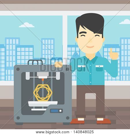 An asian young man standing near three D printer and pointing forefinger up. Engineer using 3D printer. Man working with 3D printer. Vector flat design illustration. Square layout.