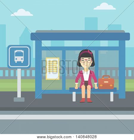 An asian woman with briefcase waiting for a bus at a bus stop on a city background. Young woman sitting at bus stop at the city street. Vector flat design illustration. Square layout.