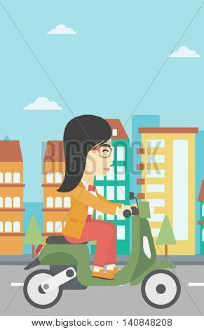 An asian young woman riding a scooter on a city background. Young woman driving a scooter in the street. Vector flat design illustration. Vertical layout.