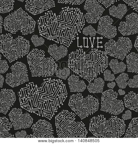 Black And White Electrical Circuit Board Heart Symbol Seamless Pattern Eps10