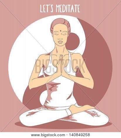 Beautiful woman sitting in lotus asana and meditate, vector illustration