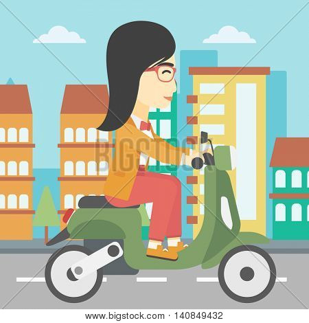 An asian young woman riding a scooter on a city background. Young woman driving a scooter in the street. Vector flat design illustration. Square layout.