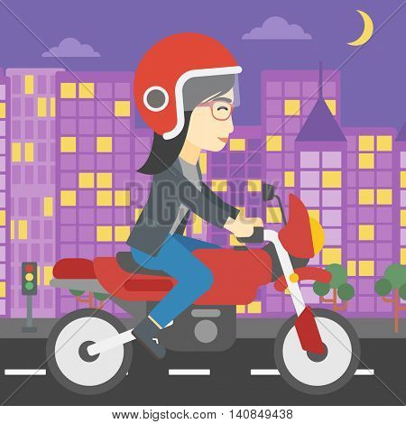 An asian young woman in helmet riding a motorcycle on the background of night city. Woman driving a motorbike on a city road. Vector flat design illustration. Square layout.