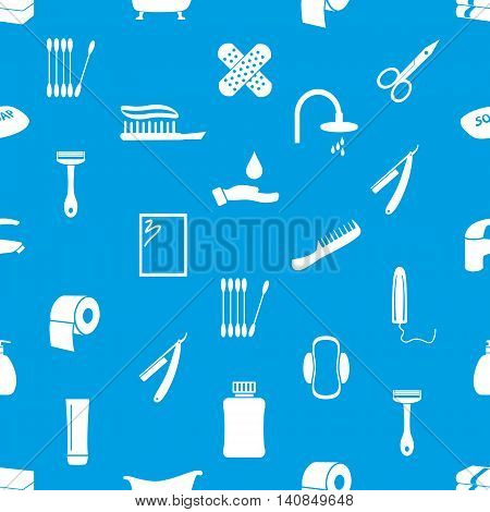 Hygiene Theme Icons Modern Simple Blue And White Seamless Pattern Eps10