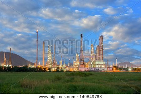 Twilight scene of oil refinery plant, Oil & Gas industrial.