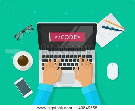 Programmer coding on laptop computer on work desk vector illustration, freelancer sitting on working table and typing code on keyboard top view, web development process concept cartoon flat style