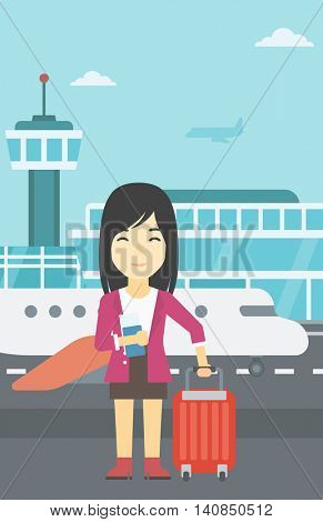 An asian woman with suitcase holding a passport with ticket at the airport. Young woman waiting for a flight at the airport. Vector flat design illustration. Vertical layout.