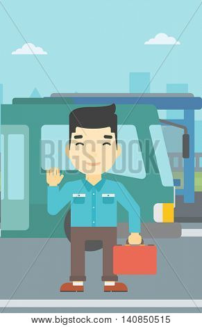 An asian young man standing at the entrance door of a bus on a city background. Young man waving in front of a bus. Vector flat design illustration. Vertical layout.