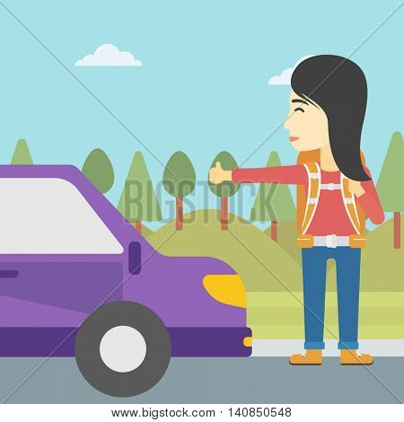 An asian young woman with backpack hitchhiking on roadside. Hitchhiking woman trying to stop a car on the road. Vector flat design illustration. Square layout.