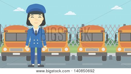 An asian young school bus driver standing in front of yellow bus. Vector flat design illustration. Horizontal  layout.