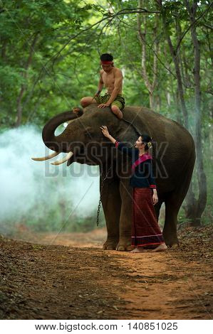 The elephant and mahout with woman in traditional dress