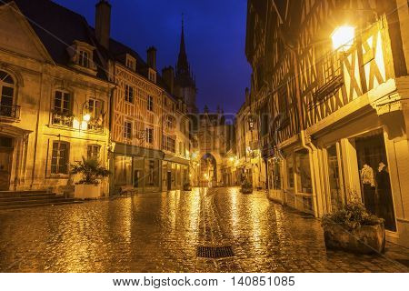 Auxerre Clock Tower during rainy morning. Auxerre Burgundy France