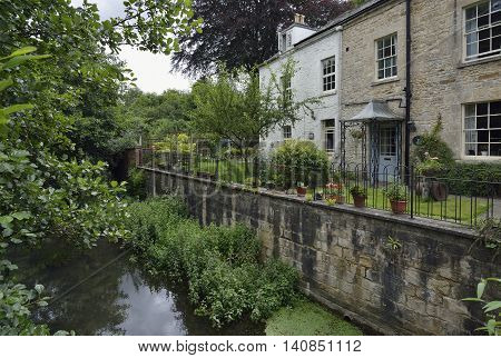 Old Houses beside River Frome Brimscombe Port Stroud Gloucestershire