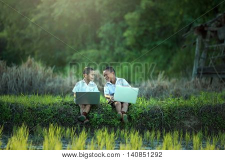 Young boy playing laptop with friend on the cornfield