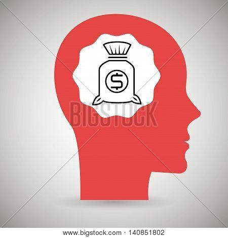 silhouette head bag money vector illustration eps 10