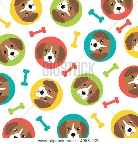 beagle puppy pattern vector full color illustration
