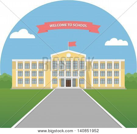 Yellow school building in a landscape. School library. University or college building. Banner invitation back to school. Flat style vector illustration.