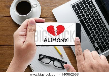 Alimony message on hand holding to touch a phone top view table computer coffee and book
