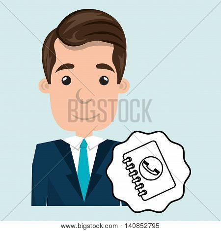 man adul young notepad vector illustrationeps 10