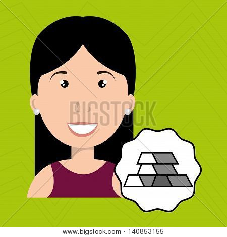 woman barrs golden ingot vector illustration esp 10