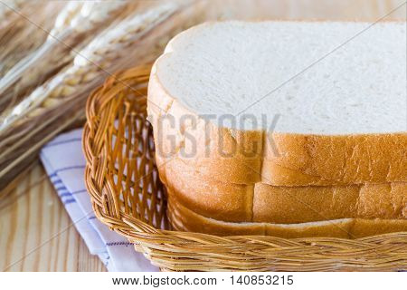 Put a slice of bread in the basket for eating.