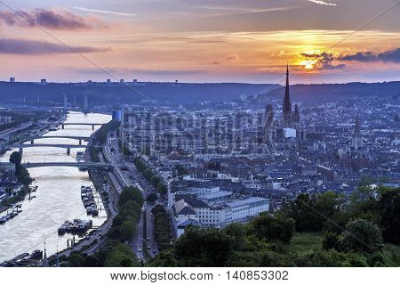 Sunset in Rouen - aerial view. Rouen Normandy France