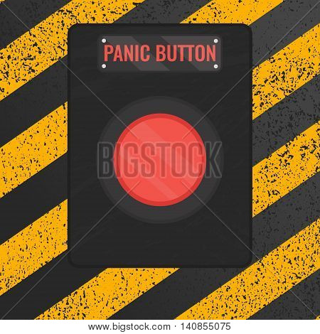 Panic button sign. Vector illustration of a red emergency stop button on rusty yellow and black panel. Touch, push or press symbol.