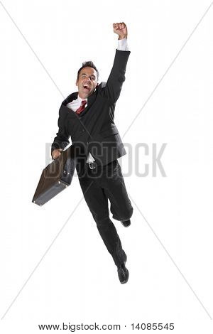 Businessman celebrating